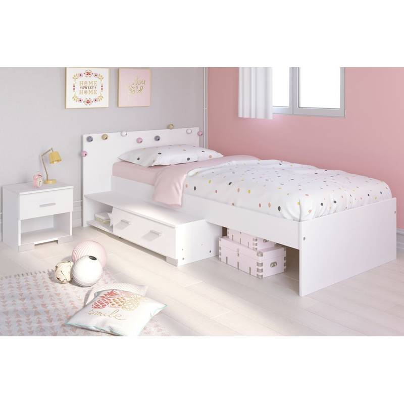 stauraumbett 90x200 cm mit nachtkommode kinderzimmer jugendzimmer wei 179 00. Black Bedroom Furniture Sets. Home Design Ideas